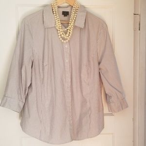 Gray and white striped button up 2x